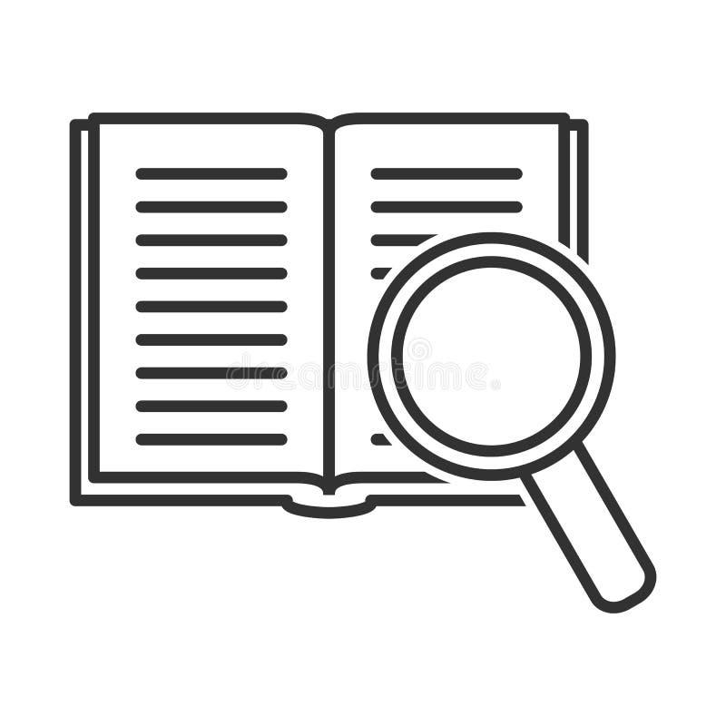 Abra el icono del esquema de la lupa del libro stock de ilustración