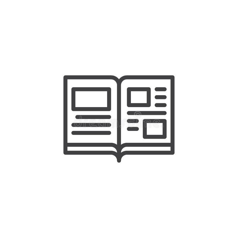 Abra el icono del esquema de las páginas del libro stock de ilustración