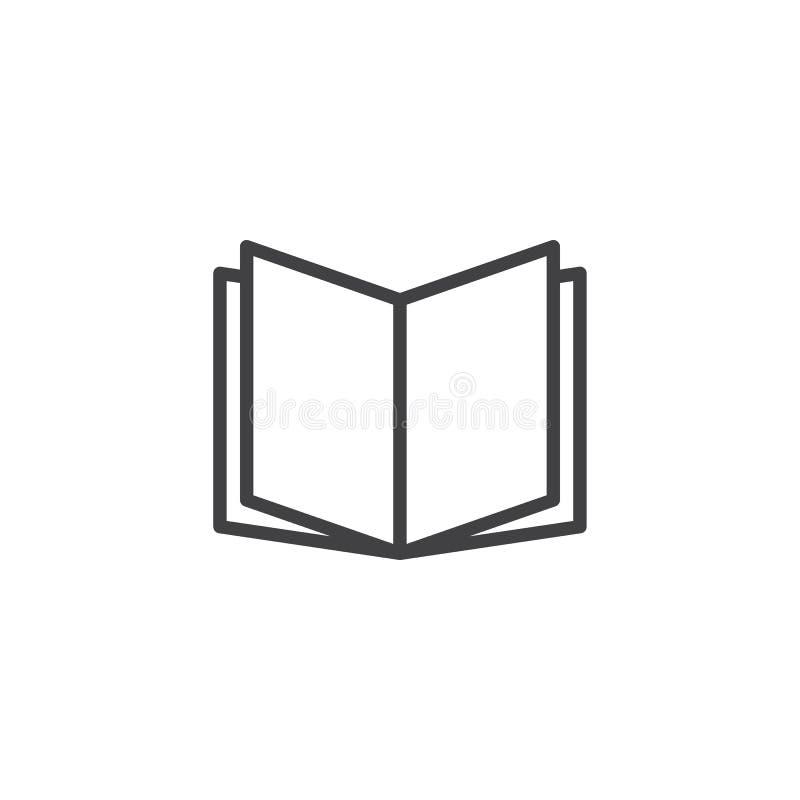 Abra el icono del esquema del libro stock de ilustración
