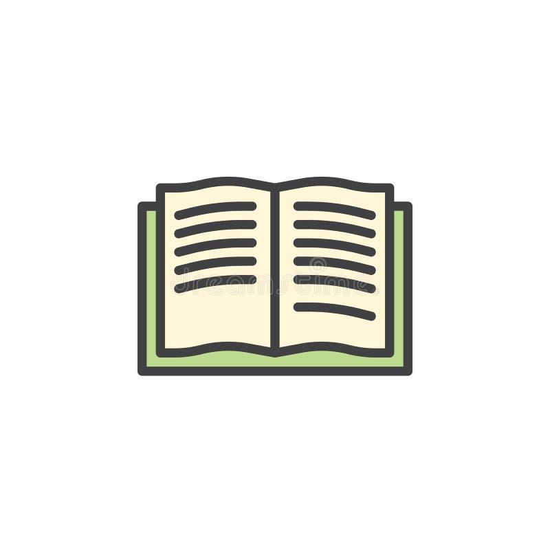 Abra el icono llenado las páginas del esquema del libro stock de ilustración