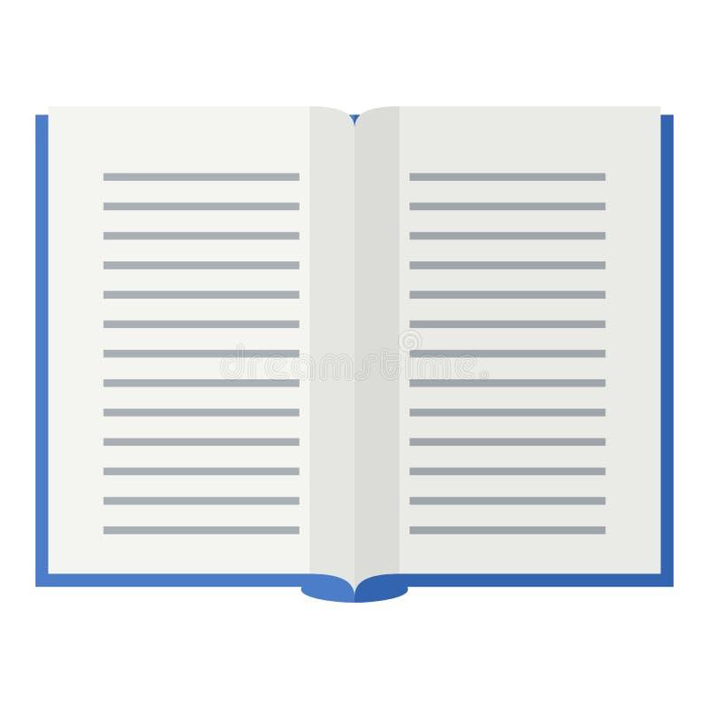 Abra el icono plano del libro de escuela en blanco ilustración del vector