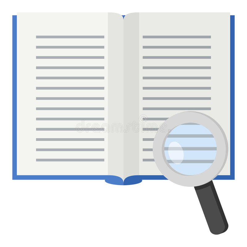 Abra el icono plano del libro y de la lupa ilustración del vector