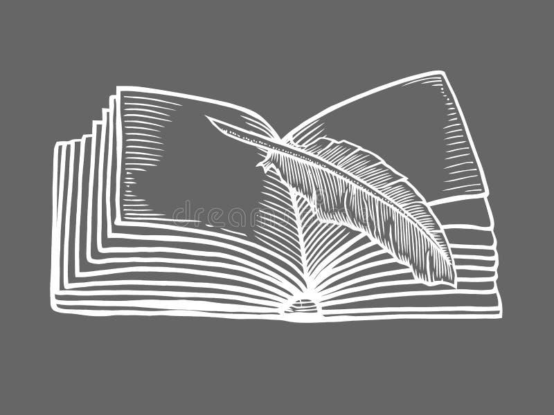Abra el libro aislado stock de ilustración