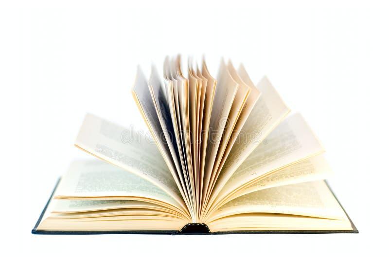 Abra el libro aislado en blanco fotografía de archivo