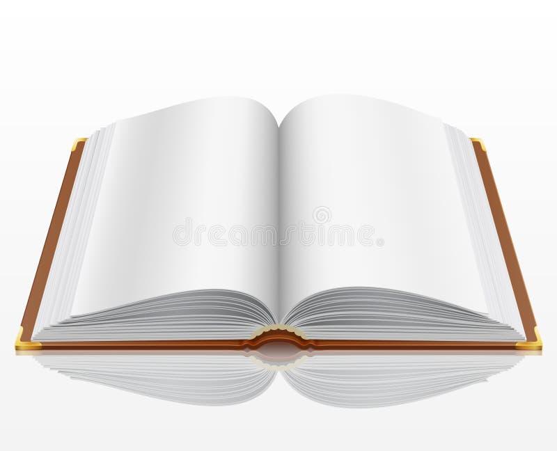 Abra el libro con aislado en blanco ilustración del vector