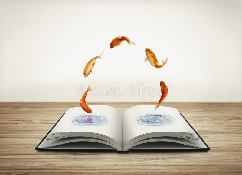 Abra El Libro Con El Pez De Colores Stock de ilustración ...