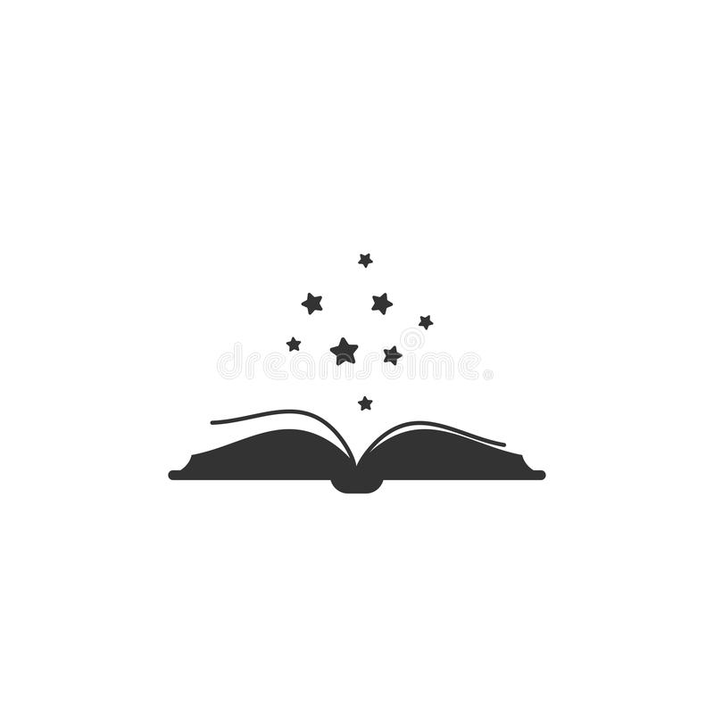 Abra el libro con la cubierta de libro gruesa y las estrellas negras de la suavidad que vuelan hacia fuera stock de ilustración