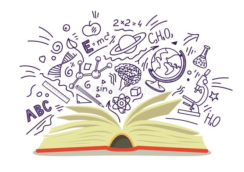 Abra el libro con la educación, escuela, bosquejos dibujados mano de la ciencia en el fondo blanco ilustración del vector