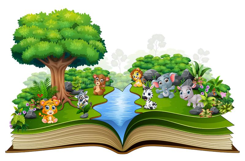 Abra El Libro Con El Río Y La Planta Verde Del Fondo De La