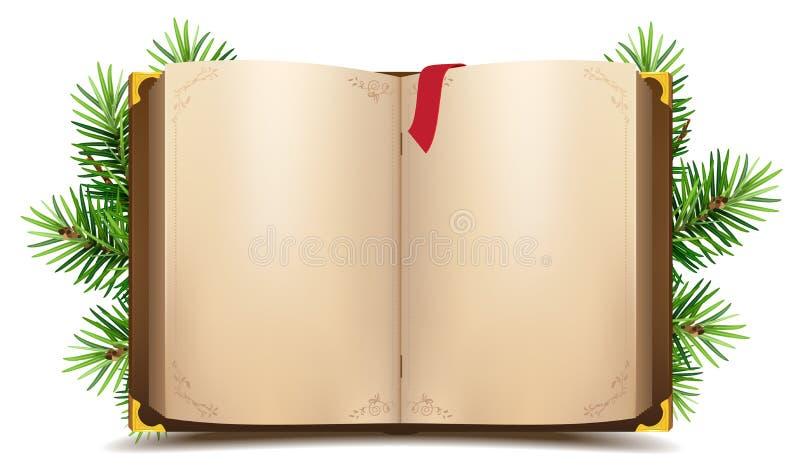 Abra el libro con las páginas en blanco y la señal roja Rama verde del pino de la Navidad ilustración del vector