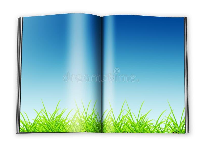 Abra el libro con las paginaciones diseñadas vacías con un papel ilustración del vector
