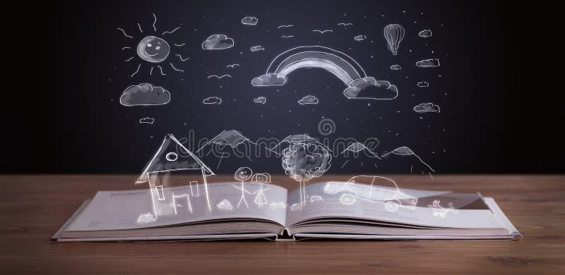 Abra el libro con paisaje dibujado mano imagen de archivo libre de regalías