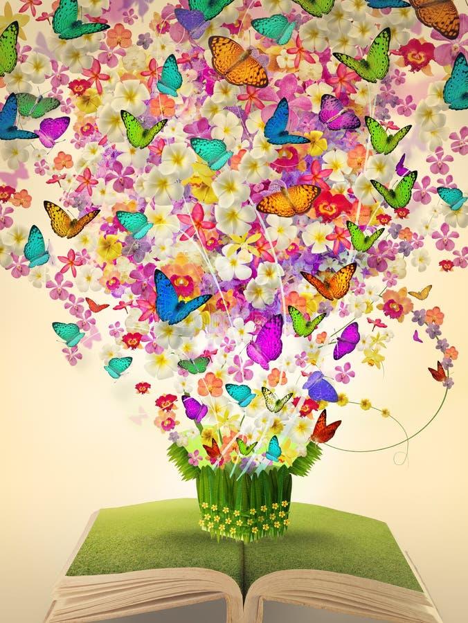 Abra el libro de la vendimia de la flor de la abundancia fotografía de archivo libre de regalías