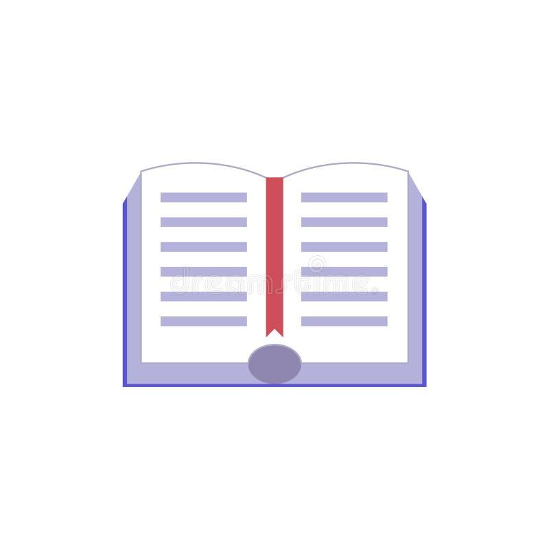 Abra el libro de papel con el icono plano del hardcover y de la señal roja stock de ilustración
