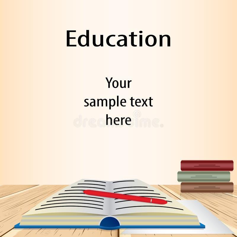 Abra el libro del conocimiento azul y una pila de cerrado multicolor ilustración del vector