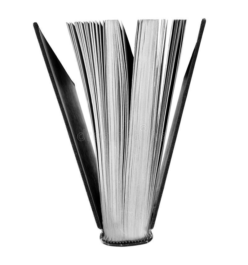 Abra el libro en blanco y negro imagen de archivo