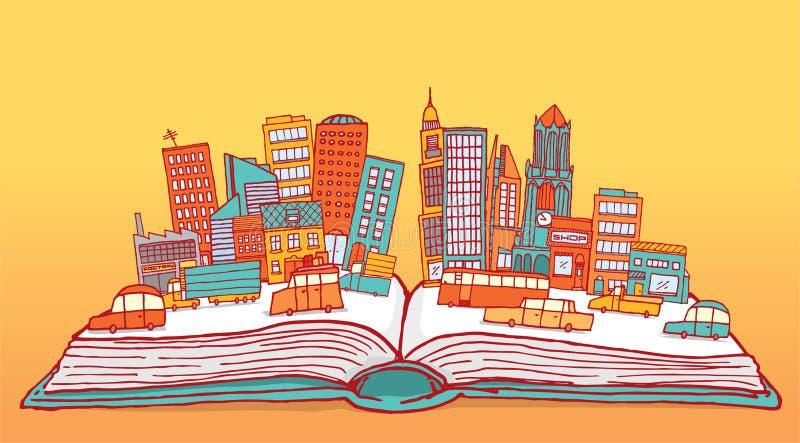 Abra el libro que exhibe una ciudad ocupada ilustración del vector