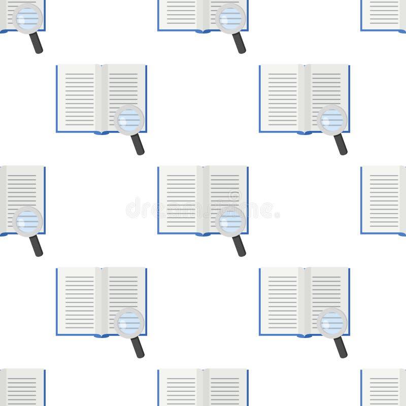 Abra el libro y la lupa inconsútiles ilustración del vector