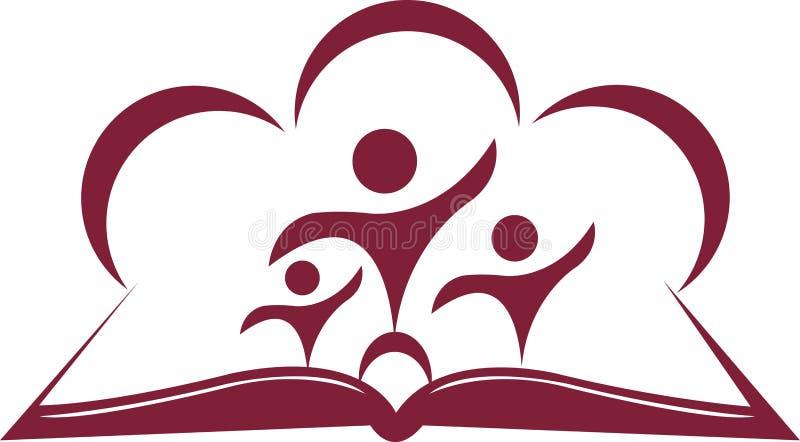 Abra el libro y a los estudiantes stock de ilustración