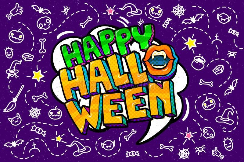 Abra el mensaje de la boca y del feliz Halloween stock de ilustración
