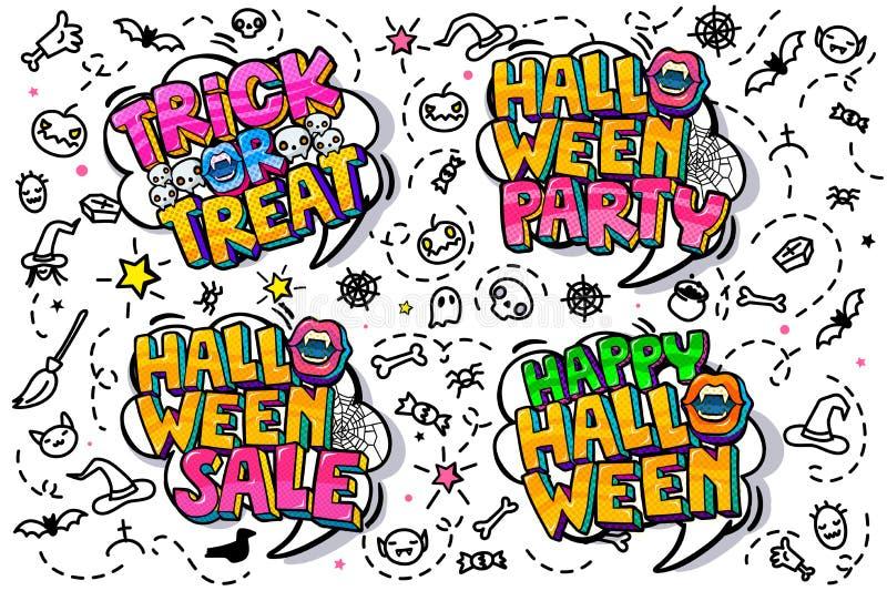 Abra el mensaje de la boca y del feliz Halloween en estilo del arte pop ilustración del vector