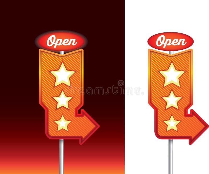 Abra el mensaje en la señalización de neón del comensal retro del vintage en la noche stock de ilustración