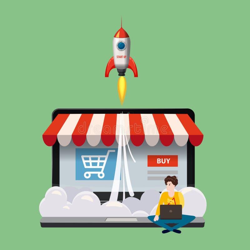 Abra el ordenador portátil con la pantalla de la compra, concepto, tienda en línea corriente, hombre joven que se sienta con el o stock de ilustración