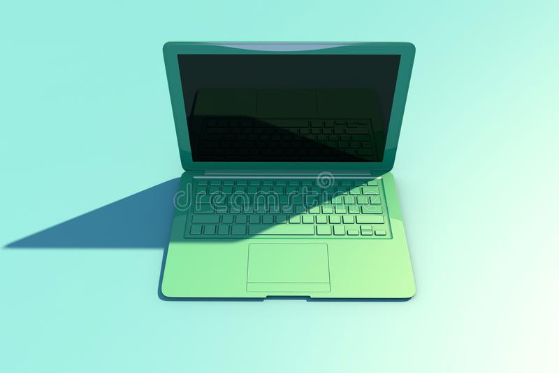 Abra el ordenador portátil con la pantalla y el teclado, sombra larga libre illustration