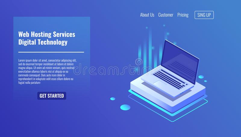 Abra el ordenador portátil, concepto de servicios del web hosting, ejemplo isométrico 3d del vector de las informáticas libre illustration