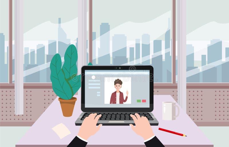 Abra el ordenador portátil, establecimiento de una red social, salas de chat, mano, interior de la oficina, vector, ejemplo, aisl ilustración del vector