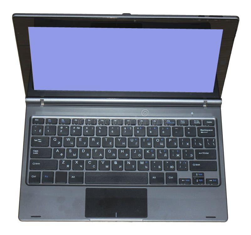 Abra el ordenador port?til con la pantalla azul