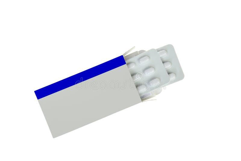 Abra el paquete en blanco de la medicina de la etiqueta con las píldoras de la ampolla embalan, aislado en blanco fotografía de archivo libre de regalías