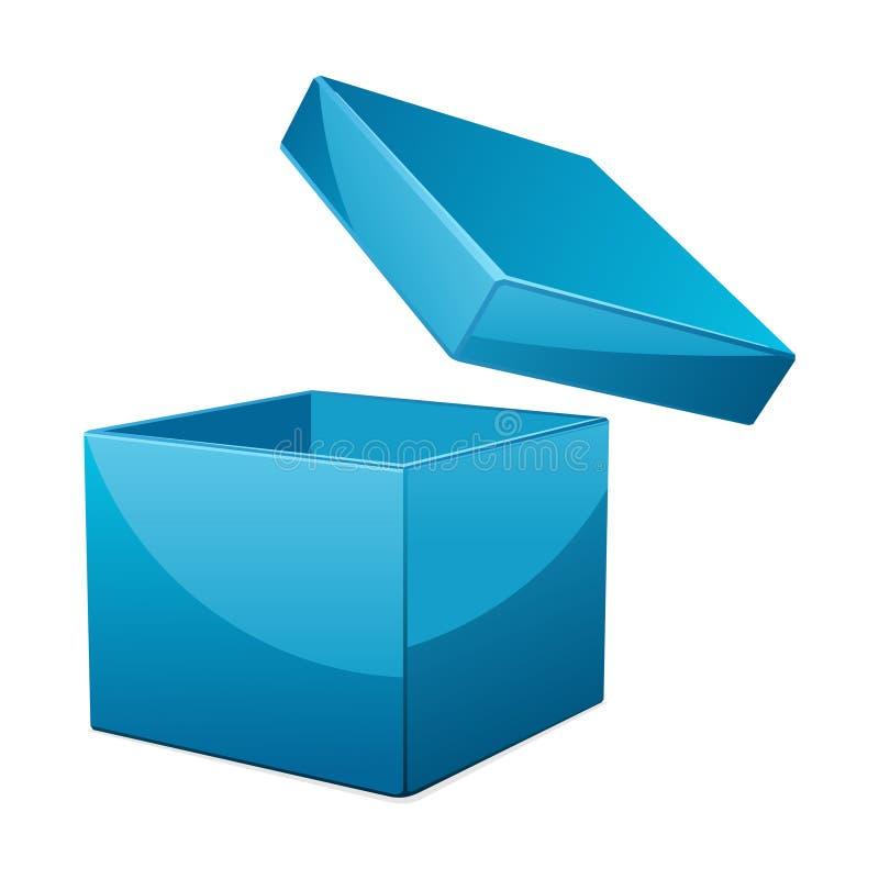 Abra el rectángulo de regalo azul stock de ilustración
