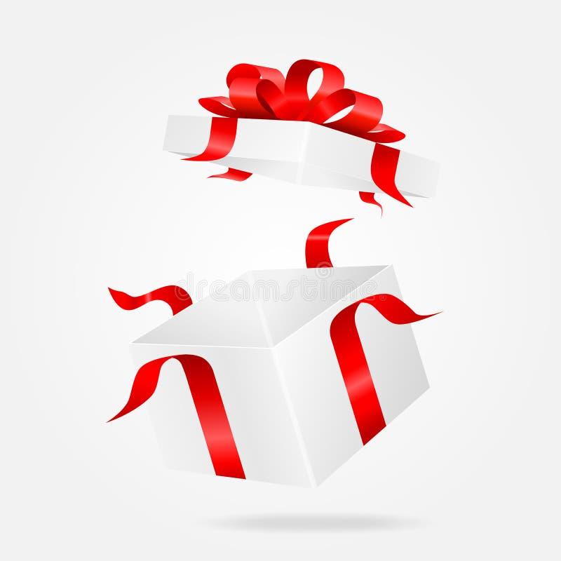 Abra el rectángulo de regalo blanco Illustion del vector stock de ilustración
