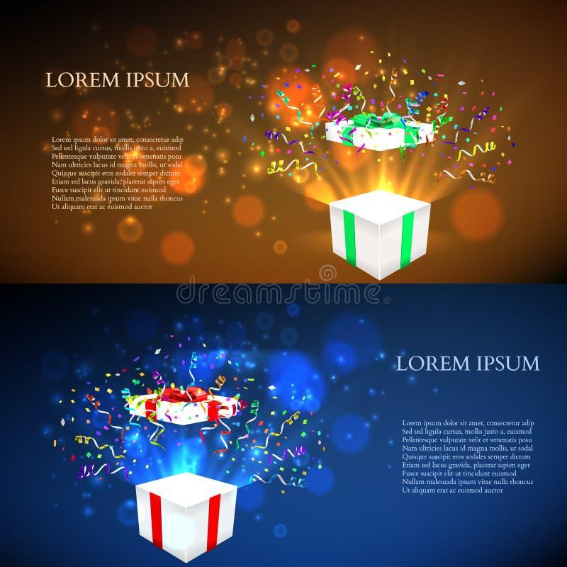 Abra el regalo con los fuegos artificiales del confeti Vector libre illustration