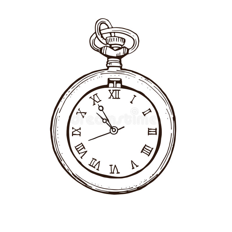 Abra el reloj de bolsillo en estilo del vintage Ejemplo dibujado mano del vector del bosquejo de la tinta libre illustration