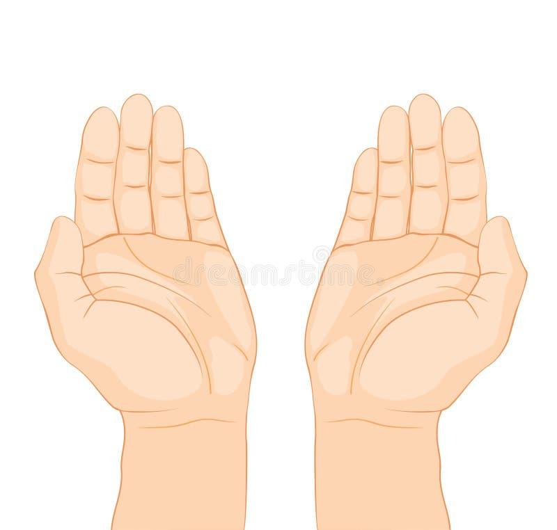 Abra el rezo de las manos en el fondo blanco stock de ilustración