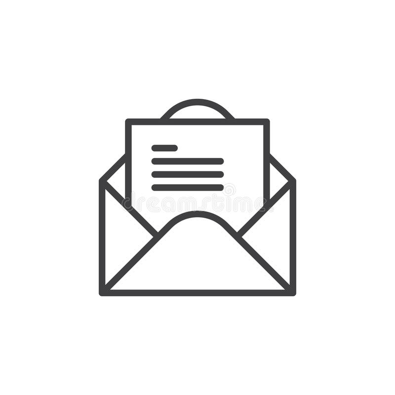 Abra el sobre con la línea icono, muestra del vector del esquema, pictograma linear de la letra del estilo aislado en blanco ilustración del vector