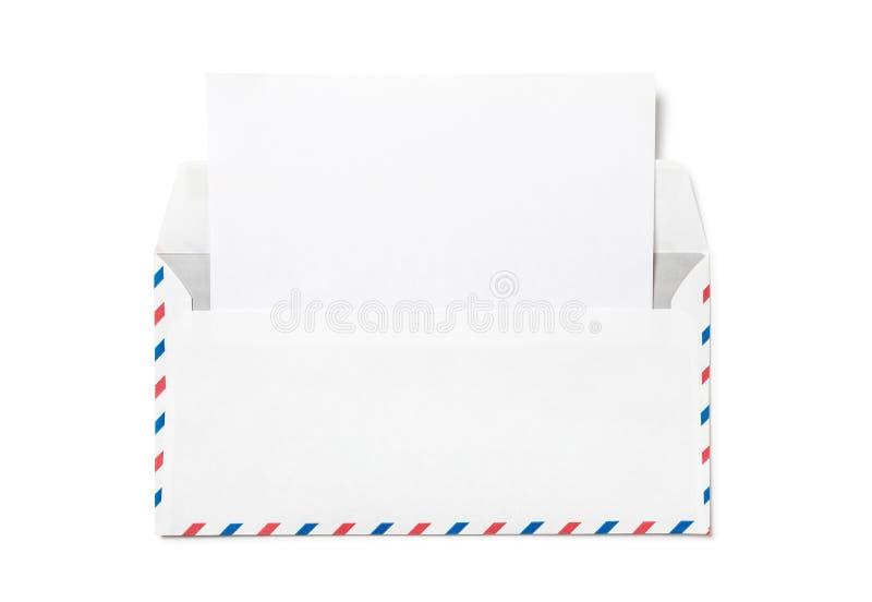 Abra el sobre con una hoja del Libro Blanco foto de archivo libre de regalías