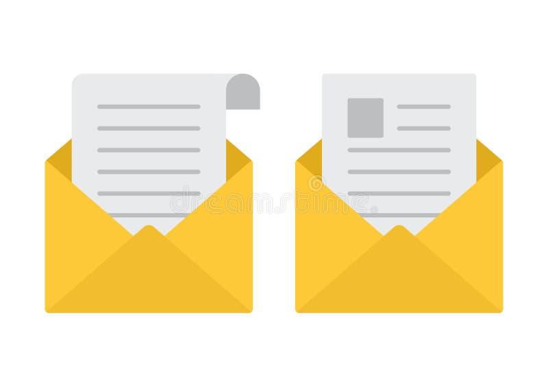 Abra envelopes Ícones do correio Ilustração do vetor ilustração stock