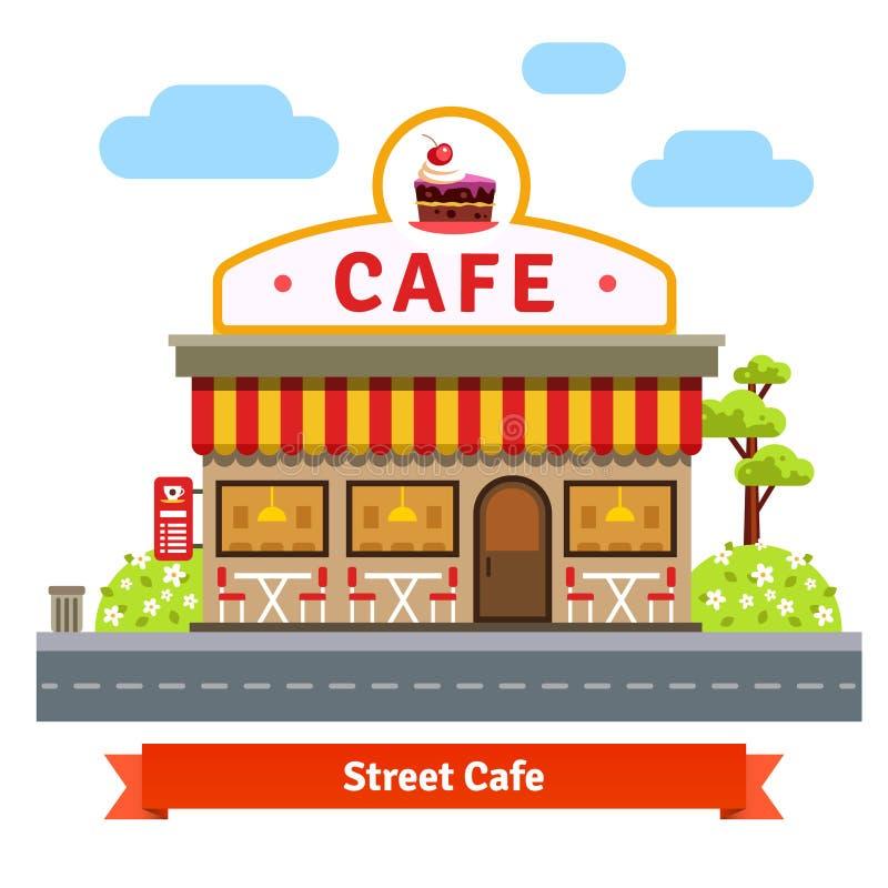 Abra a fachada da construção do café ilustração do vetor