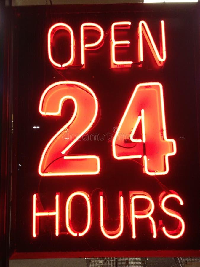 Abra 24 horas fotografia de stock