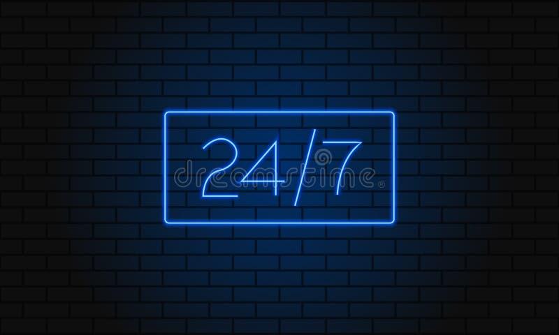 Abra 24 7 horas de luz de néon na parede de tijolo Ilustração do vetor 24 do clube noturno horas de sinal de néon da barra ilustração royalty free