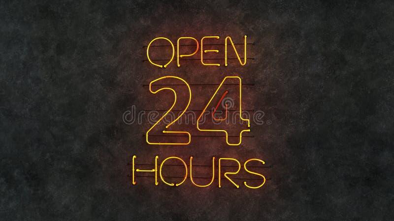 Abra 24 horas de texto claro de néon 3D rendem a ilustração ilustração royalty free