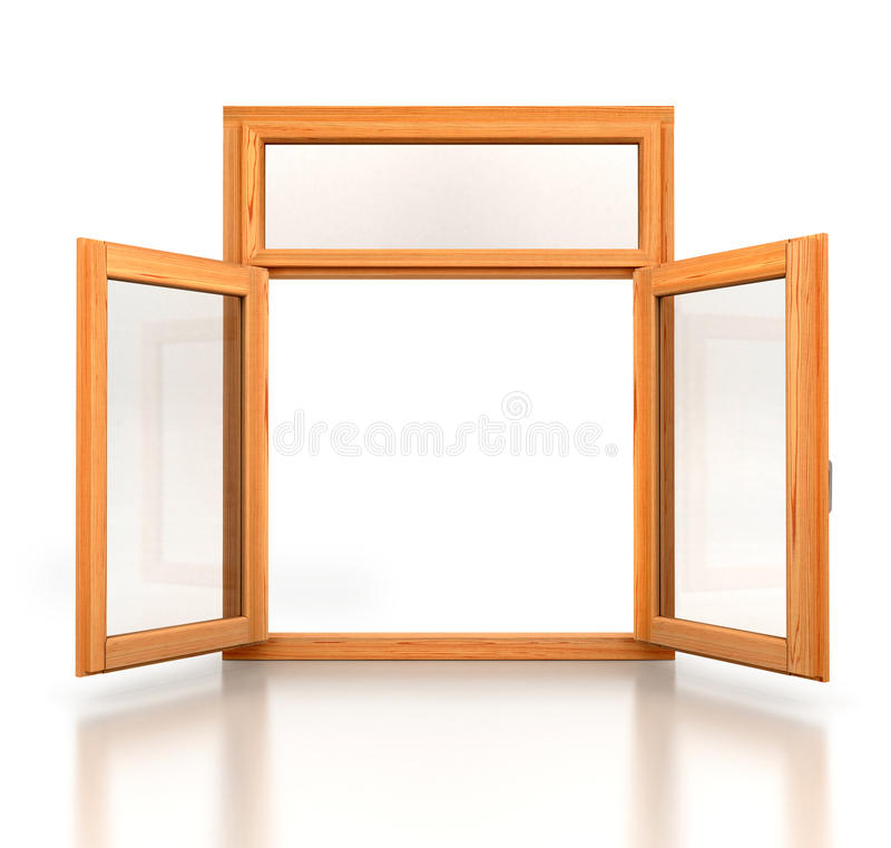Abra a janela dobro de madeira aberta imagem de stock