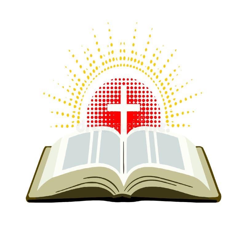 Abra la biblia con la cruz y los rayos de la luz ilustración del vector