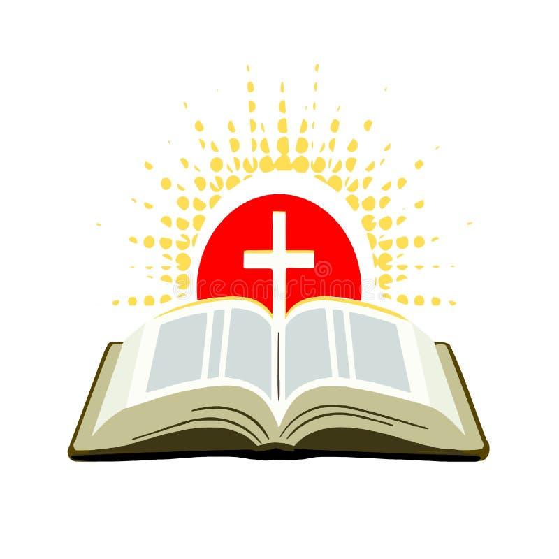 Abra la biblia con la cruz y los rayos del sol stock de ilustración