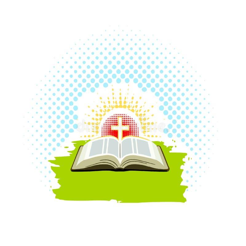 Abra la biblia con la cruz y los rayos del sol con los puntos texturizados libre illustration