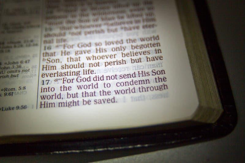 Abra la biblia y el verso de la biblia fotografía de archivo libre de regalías