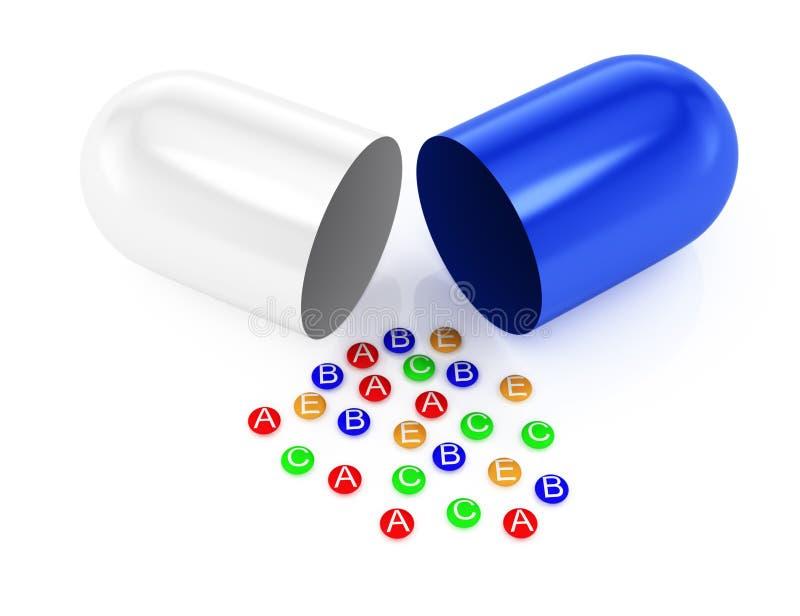 Abra la cápsula y las vitaminas ilustración del vector